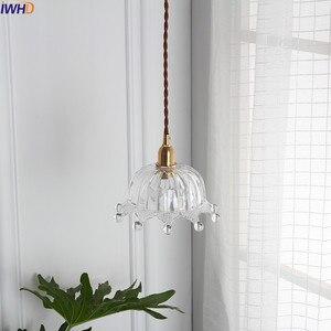 Image 4 - Iwhd 북유럽 구리 유리 펜 던 트 전등 설비 침실 거실 로프트 펜 던 트 조명 매달려 램프 luminaire 조명