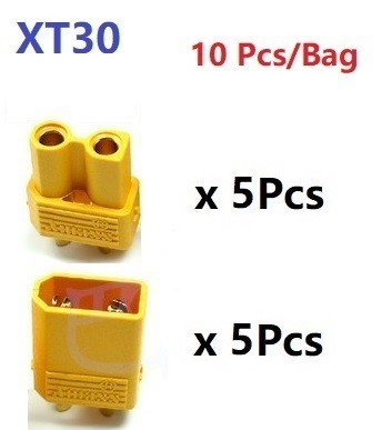 XT30 XT-30 штекер мужской женский пули Разъемы Вилки для RC Lipo батарея Квадрокоптер Мультикоптер для самолетов аксессуары Запчасти - Цвет: Цвет: желтый