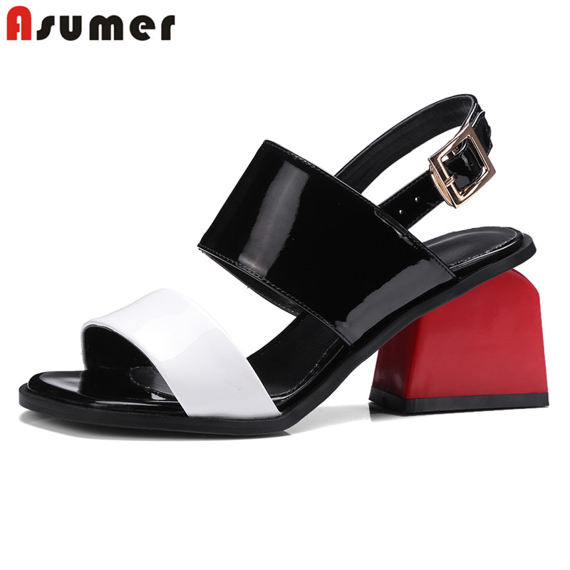 ASUMER Women Sandals Party Wedding-Shoes Square High-Heels Female New-Fashion