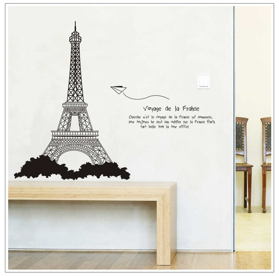Eco removable romantic paris eiffel tower wall stickers for living eco removable romantic paris eiffel tower wall stickers for living room bedroom decorative stickers on the wall home decoration in wall stickers from home amipublicfo Images