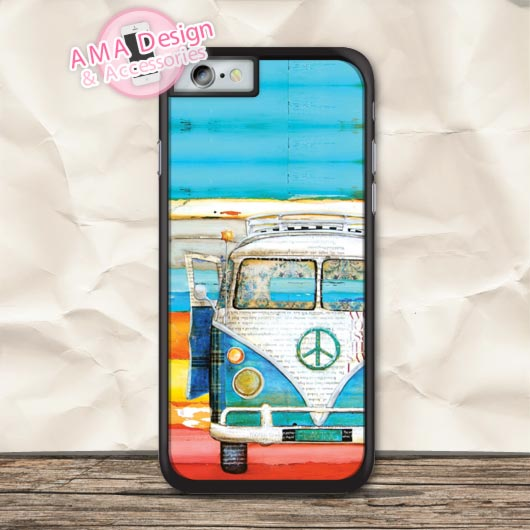 Retro VW Bus Painting Art Protective Case For iPhone X 8 7 6 6s Plus 5 5s SE 5c 4 4s For iPod Touch