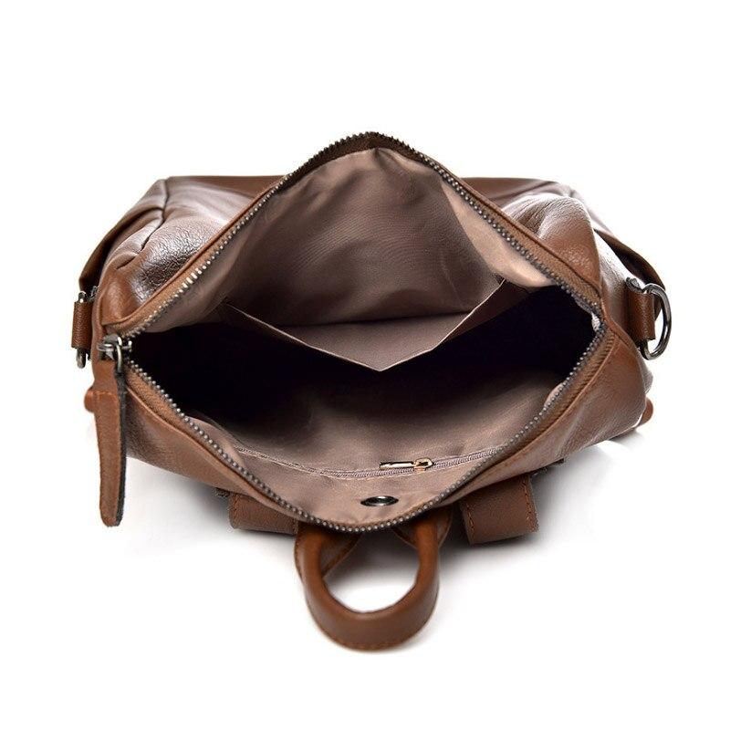 Capacità 1 Pcs brown Pelle Con Spalle Borse Cerniera In Alta Zaino Nero Nuovo Morbida Il Impermeabile Donne Ad OOwrB