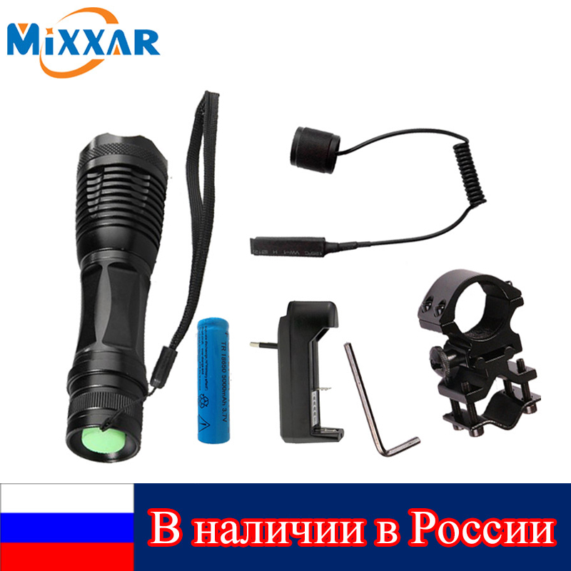 LED Tactical Flashlight 9000 Lumens CREE XM-L T6 Zoomable 5 Modes Lanterna LED Hunting Torch Lamp Flashlights rechargeable 2000lm tactical cree xm l t6 led flashlight 5 modes 2 18650 battery dc car charger power adapter