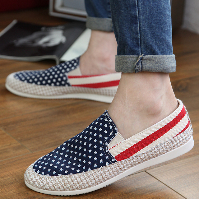Discount men flat shoes slip on low-top canvas shoes men loafers flag print  breathable casual sheos driving shoes boat shoes 584d084b2