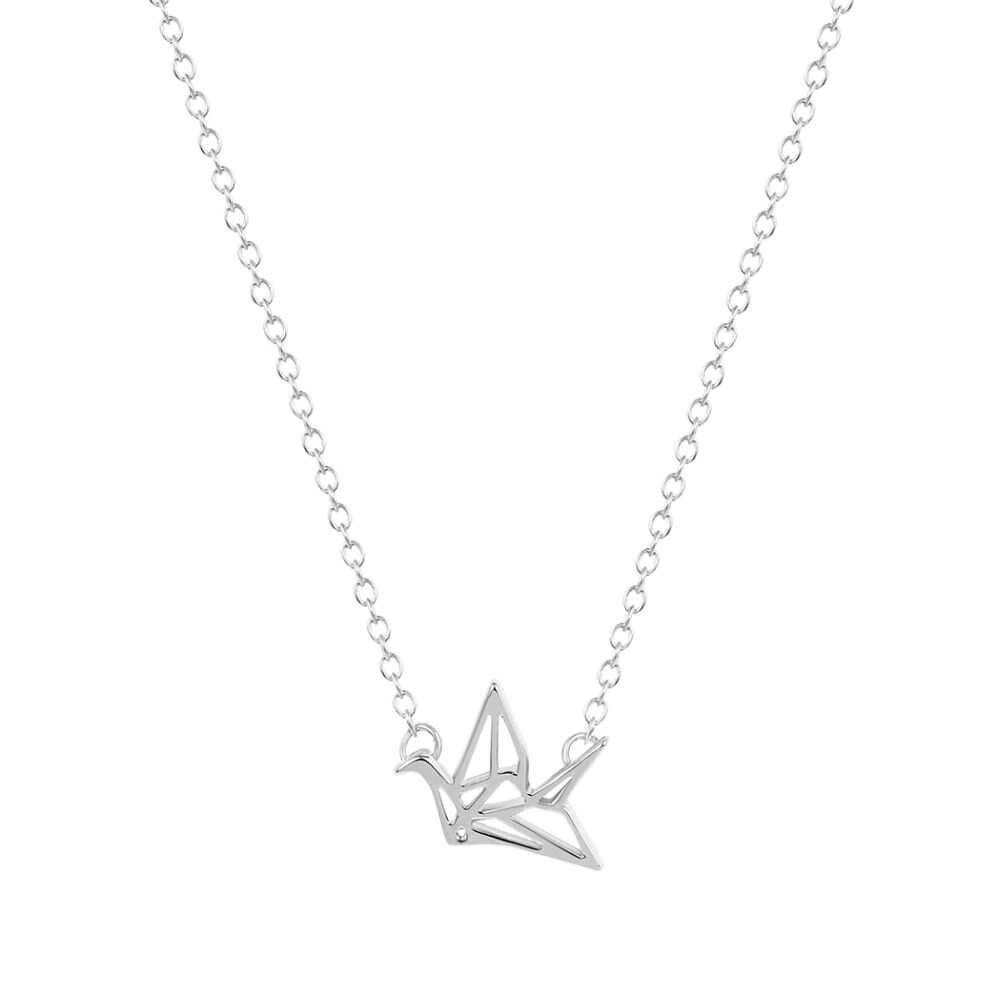 かわいい鳥折り紙クレーン動物チェーンペンダントカップルネックレスユニークなミニマルなステートメントジュエリーパーティーギフトのための女性