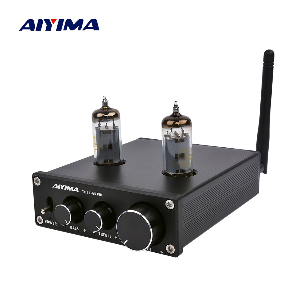 AIYIMA 6K4 Vacuum Tube Amplifier Preamplifier Bluetooth 5.0 Bile Pre AMP Vacuum Tube Preamp With Treble Bass Tone Adjustment