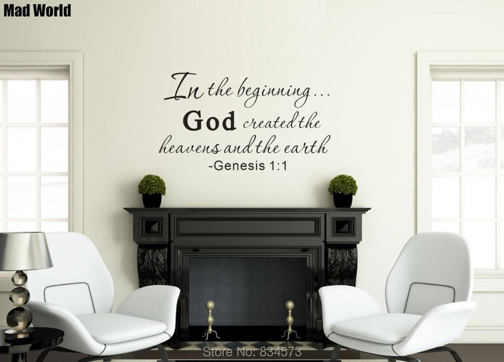 In the Beginning God Created Heavens and Earth Wall Art Stickers Wall Decal Home DIY Dec ...