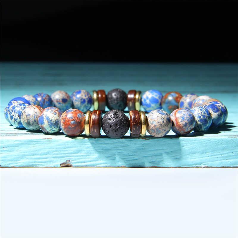 อัญมณีธรรมชาติสร้อยข้อมือหิน Femme 8 มม.เก่า Polar Jades รอบลูกปัดสร้อยข้อมือผู้ชายสีดำหินลาวาไม้กำไลข้อมือสำหรับชาย