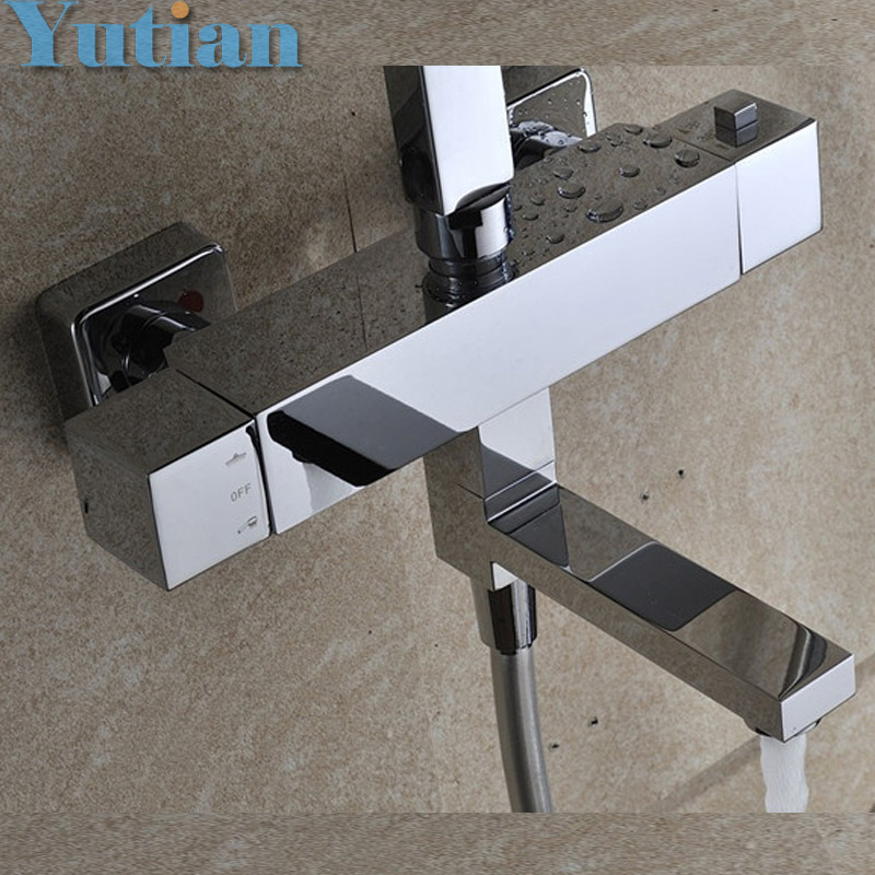 Free Shipping Wall Mounted Two Handle Thermostatic Shower faucet Thermostatic mixer , Shower Taps Chrome Finish,YT-5310