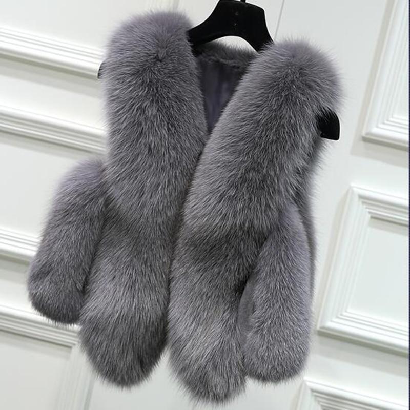 Winter Coat Women Faux Fox Fur Vest Shitsuke Fuorrure Femme Body Warmer Fashion Luxury Peel Jacket Gilet Veste Three Crystal Yz