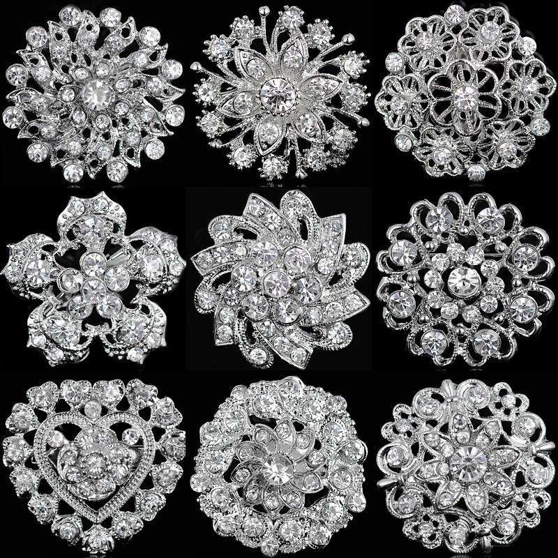 Flower-Brooches Brooch-Pin Bouquet Crystal Rhinestone Round Bridal-Party Wedding Silver
