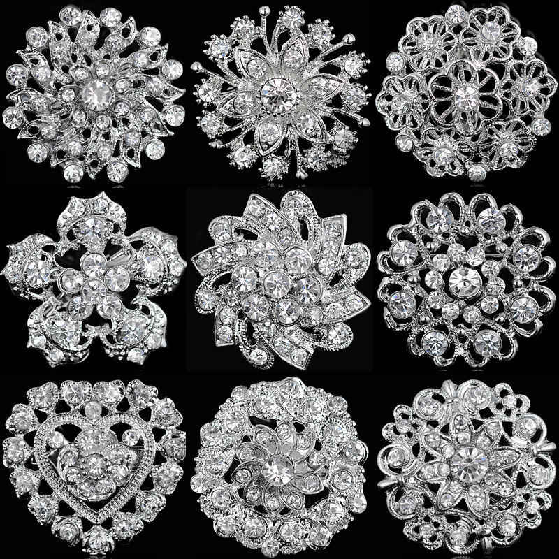 Rhinestone Crystal Verzilverd Bloem Broches Voor Vrouwen Mannen Wedding Bridal Party Ronde Boeket Broche Pin Clear