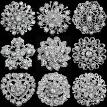 Wedding Bridal Party Round Bouquet Brooch Pin Clear Rhinestone Crystal Silver Flower Brooches for Women Men