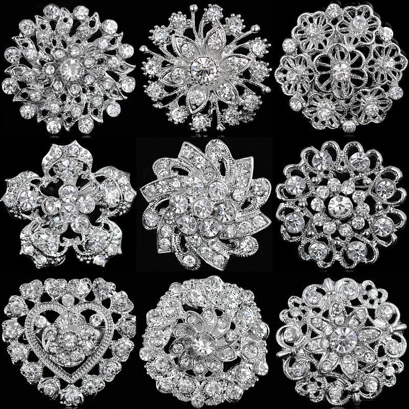 Large Crystal Rhinestone Diamante Floral Brooch Pin Wedding Party