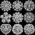Rhinestone Crystal Silver Plated Flower Brooches for Women Men Wedding Bridal Party Round Bouquet Brooch Pin Clear