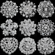 Rhinestone Crystal Silver Flower Brooches for Women Men Wedding Bridal Party Round Bouquet Brooch Pin Clear(China)
