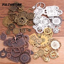 PULCHRITUDE 10pcs Vintage Metal Zinc Alloy Mixed Four Clock Pendant Charms Steampunk for Diy Jewelry Making T6435