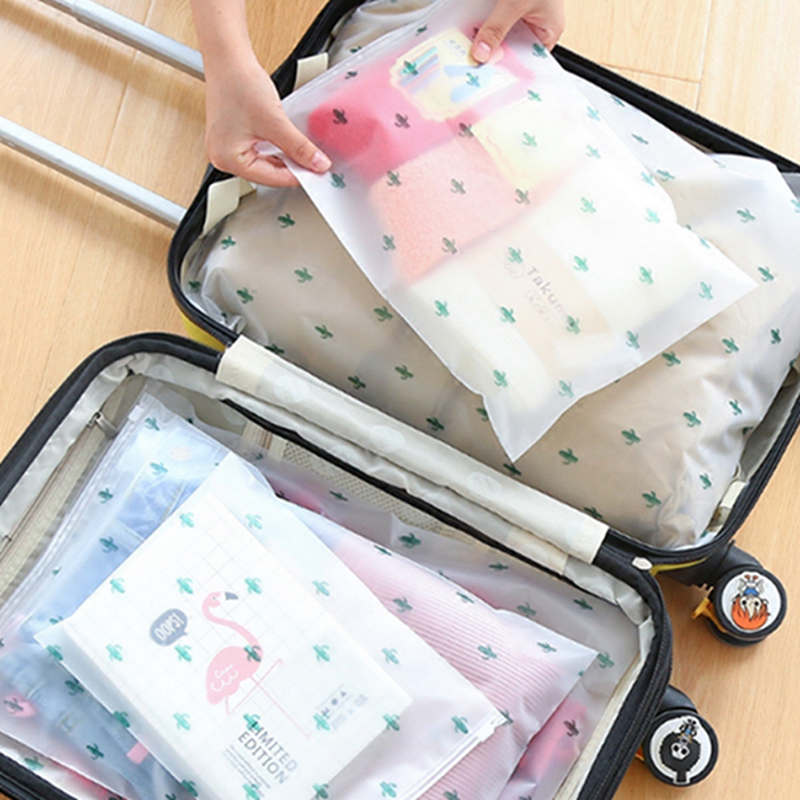 5 Set Women Travel Transparent Cosmetic Bag Zipper Flowers Makeup Case Organizer Storage Make Up Pouch Toiletry Beauty Wash Kit