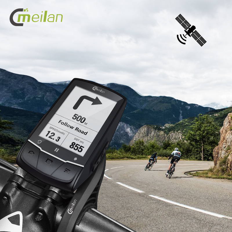 Meilan M1 <font><b>Bike</b></font> GPS bicycle Computer GPS Navigation BLE4.0 speedometer Connect with Cadence/HR Monitor/<font><b>Power</b></font> <font><b>meter</b></font> (not include) image