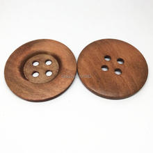 Фотография 40pcs Light Brown Natural Wood Buttons 40mm 4 Holes Sewing Botones Embellishments For Sweater Overcoat Clothing Bags Decorations