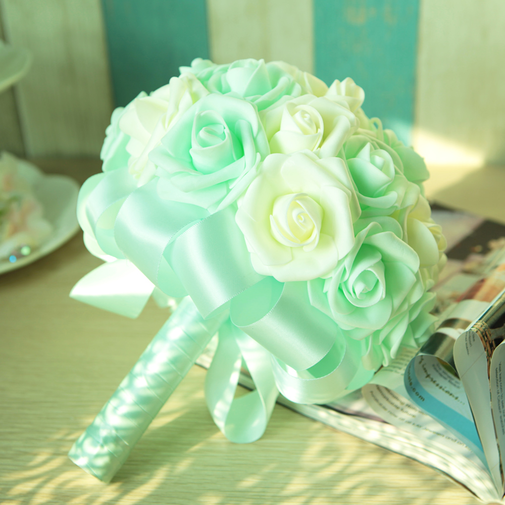 Compare prices on custom flower bouquet online shoppingbuy low new artificial rose bride bouquet flower customize in wedding church decor green ivory cream at042 dhlflorist Gallery