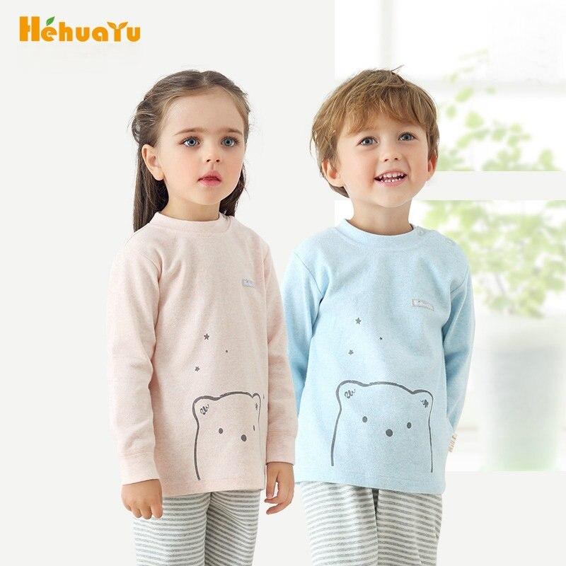 Hehuayu Children Pajamas Sets for Girls Boys Shirt+Pant Kids Tracksuits Soft Cotton Underwear Cartoon Stripe Sleepwear SAS-9596