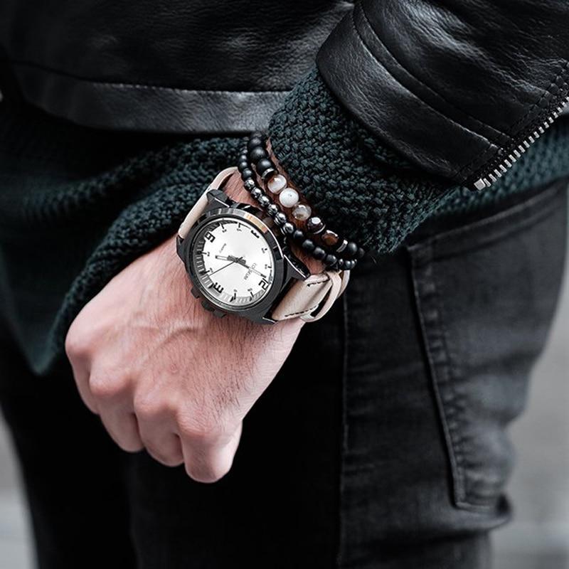 2pcs Set Men Woman Bead Bracelet Beaded Black Mantra