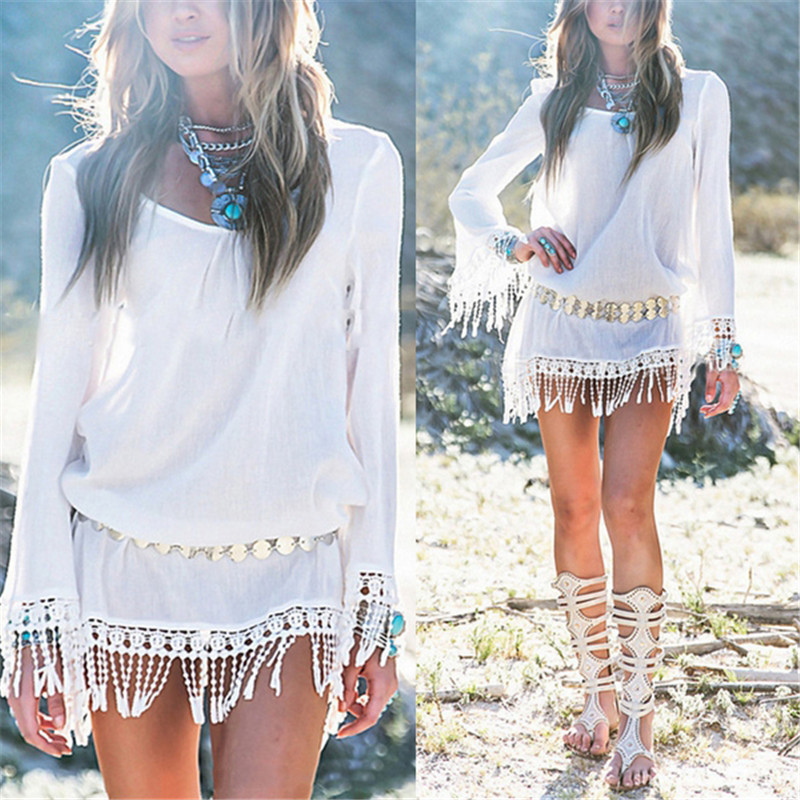ZANZEA 2017 Summer Women Boho Tassel Lace Dress Sexy Crochet Tunic Beach Party Dresses Black White Chiffion Vestidos Plus Size 12