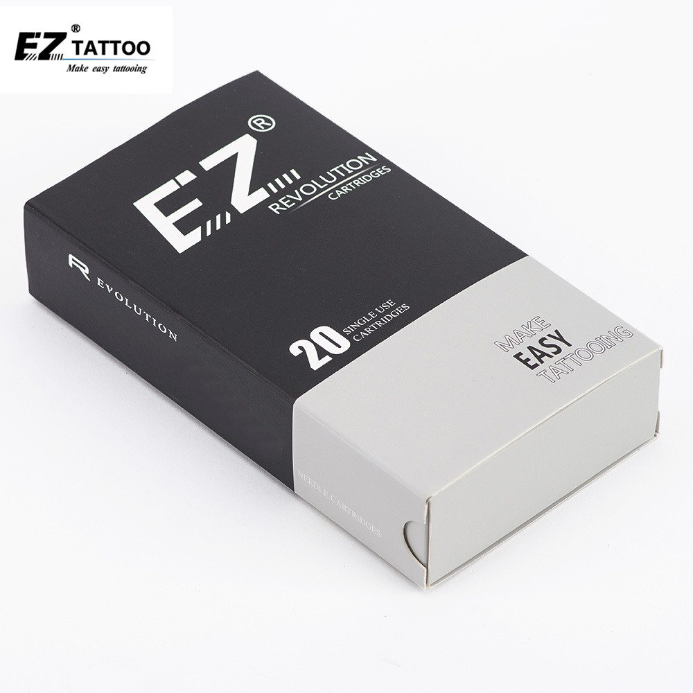 EZ Revolution Tattoo Needles Cartridge Round Liner #12 0.35mm L-Taper 5.5mm For Cartridge Machine & Grips 20pcs/box