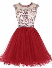 2017 Sexy Open Back Red A-line Kurze Heimkehr Kleider Sleeveless Prickelnde Perlen Backless Mädchen Prom Cocktailkleider 18
