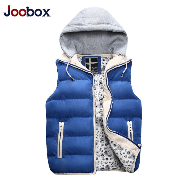 2016 Mens Jacket Sleeveless Veste Homme Winter Fashion Casual Colete Men Hooded Cotton-Padded Men's Vest Thickening Waistcoat