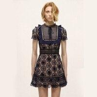 Vintage Navy Style Square Front Design Cutout Lace Dress Spring/Summer Elegant Women Short Dress
