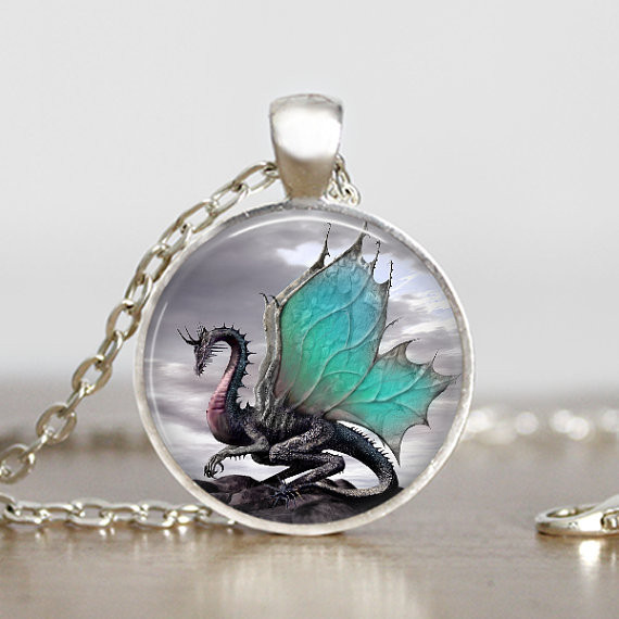 2016 Dragon Necklace Handmade Dragon Jewelry Long Photo Necklace Charm Fantasy Blue Dragon Jewelry HZ1