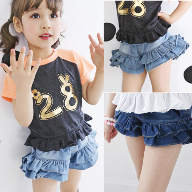 Kindstraum 2017 New Summer Girls Lotus   Shorts   Top Quality Children Solid Denim   Shorts   Casual Loose Pants for Kids,RC1339