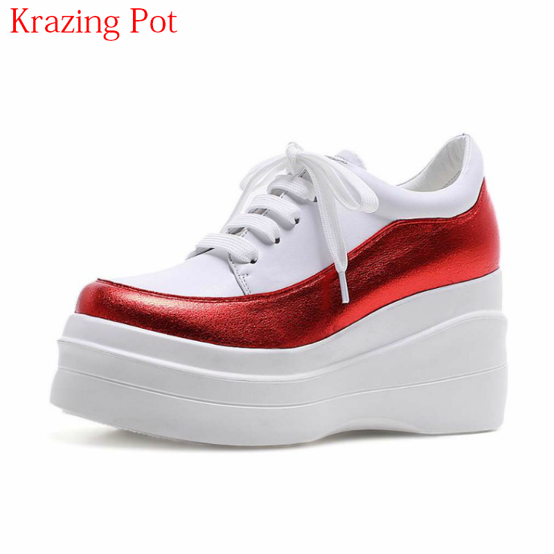 2018 High Heels Genuine Leather Round Toe Sneaker Thick Bottom Causal Shoes Mixed Colors Lace Up Women Vulcanized Shoes L1f6