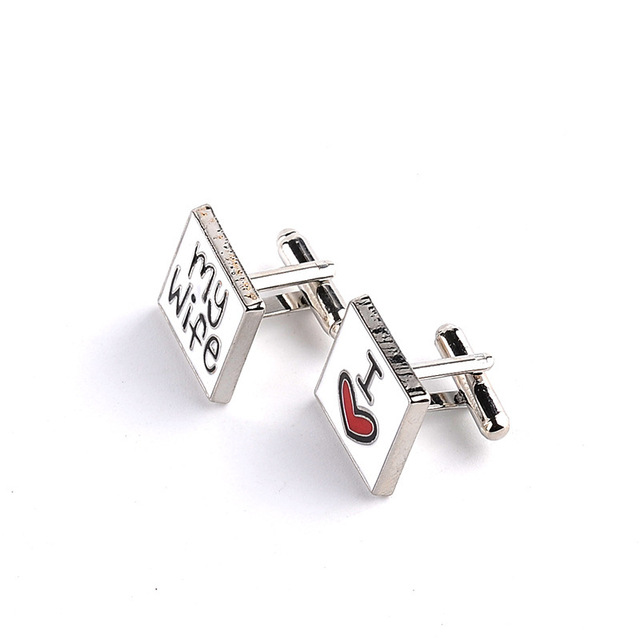 Men's Shirts Cufflinks I Love My Wife English Letter Zinc Alloy Square Wedding Groom