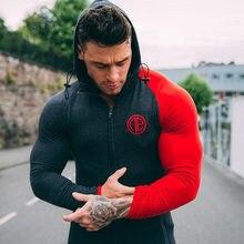 Sonbahar erkekler sıska Hoodies tişörtü erkek spor salonları Fitness vücut geliştirme spor rahat moda pamuk fermuarlı ceket Jogger mont