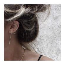 Elitven 2pcs/Pair Ear Cuff Clip on Piercing Tassel Earrings