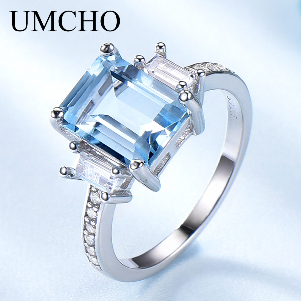UMCHO Rectangle Created Sky Blue Topaz Rings 925 Sterling Silver Jewelry Colorful Gemstone Rings For Women Gifts Fine Jewelry