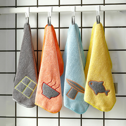 Super Absorbent Hanging Cleaning Towel Scouring Cloth Microfiber Cleaning Cloth Cartoon Thickening Hand Towel Dish Towel