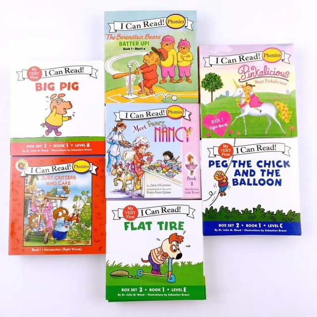 New Hot 7set Biscuit Series Phonics English Picture Books I Can Read Children Story Book Early Educaction Pocket Reading Book