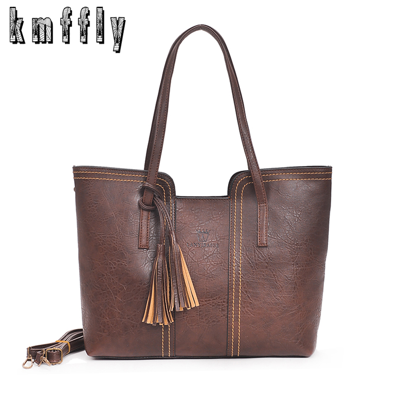 KMFFLY Luxury Brand Women Shoulder Bag Soft Leather TopHandle Bags Ladies  Tassel Big Tote Handbag High Quality Women s Handbags-in Shoulder Bags from  ... 7167170696862