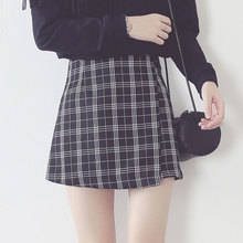 2017 New England plaid skirt skirt female waist slim irregular student summer skirt