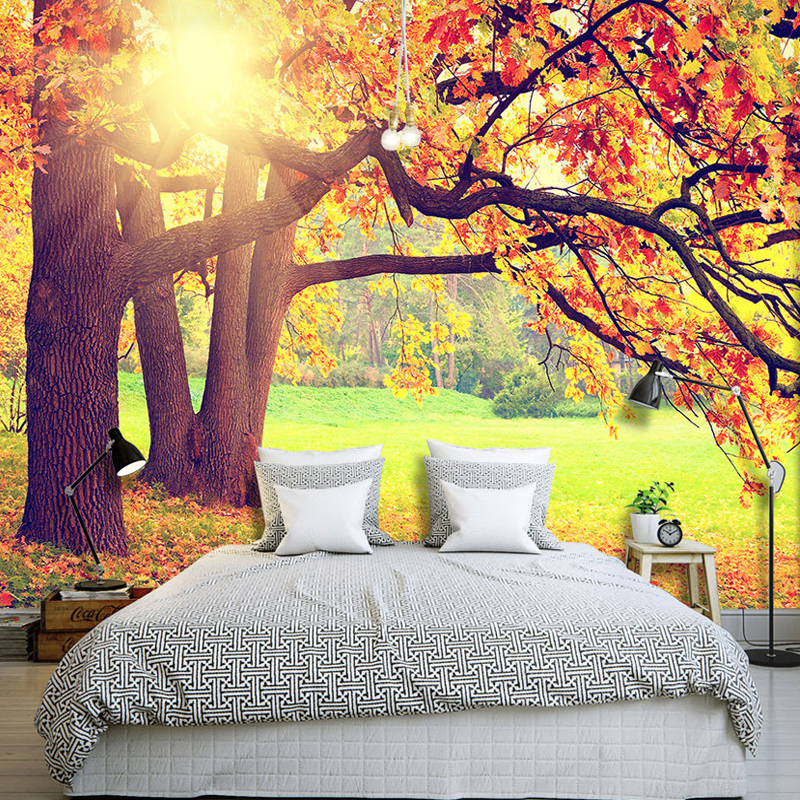 Custom 3D Photo Wallpaper Mountain Forest Autumn Maple Leaf Natural Landscape Non-woven Art Mural  Living Room Bedroom Wallpaper custom 3d room mural wallpaper non woven wallpaper senery red maple forest photo living room tv backdrop bedroom photo wallpaper
