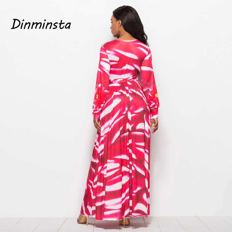 1a7ba6a34ea7c Dinminsta Long Sleeve Maxi Dress Floral Print V-Neck Flare Retro Full Party  Prom Frocks Design Female Elegant High Waist Dresses