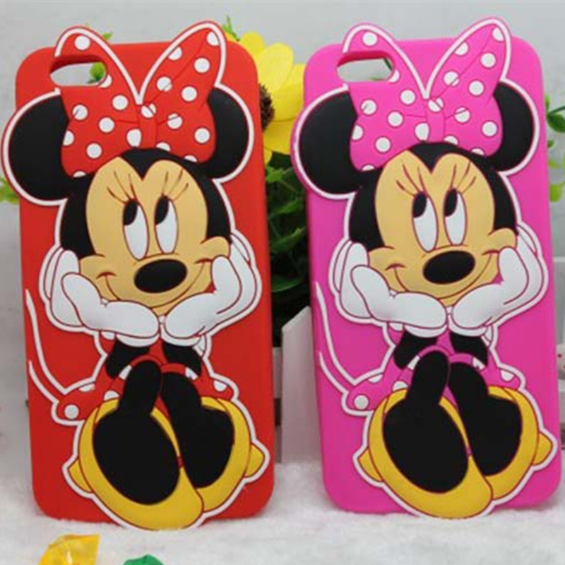 Cute 3D Cartoon Minnie Mickey Mouse Silicone Case For Apple iPhone 4G 4S 5G 5S SE 6s 6 plus 6s Plus Back Skin Phone Cover Capa