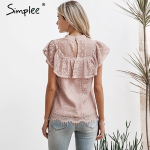 Image 3 - Simplee O ネックレース中空アウト女性ブラウスシャツ刺繍フリル裏地エレガントなブラウス女性サマーパーティーブラウスとトップス