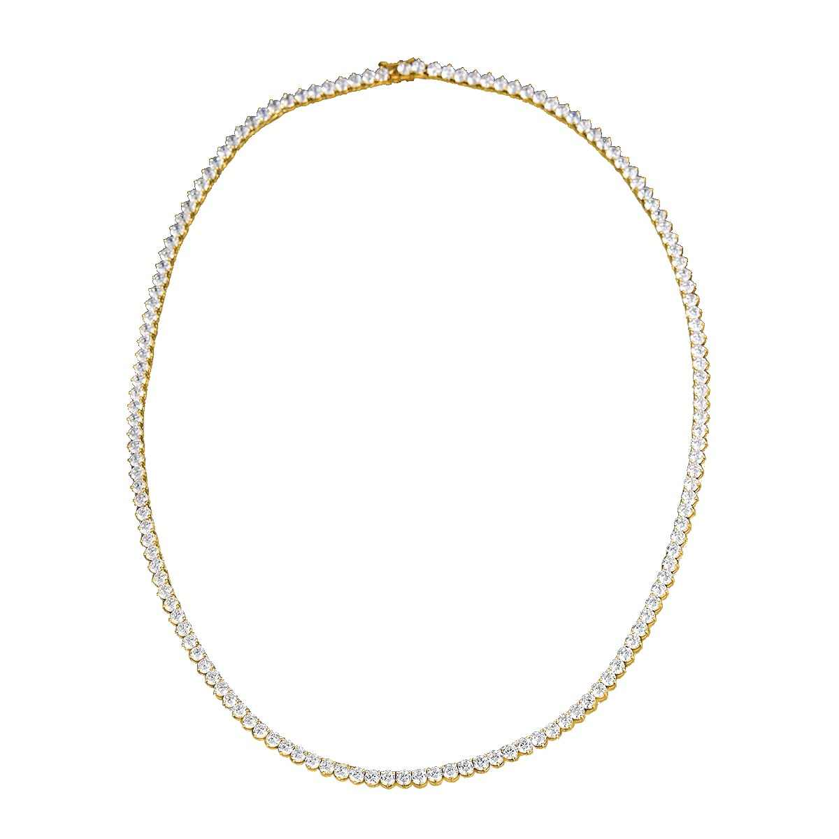 Angelgirl Charms shiny 18 inches  three prong 4mm zircon Tennis silver and gold colour Necklace For Women and men Brand Jewelry