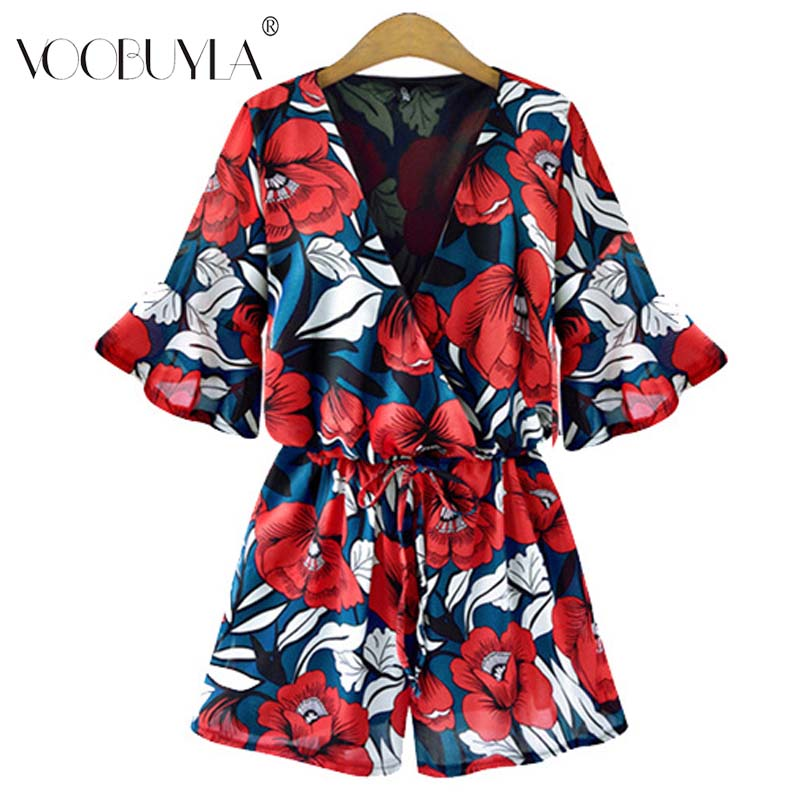 Voobuyla Size Plus S-5XL Jumpsuit for Women 2018 Summer Deep V Neck Loose Playsuit Floral Print Chiffon Rompers Overall Mej.