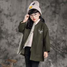 2017 New Designs Winter Girls Wool Coat Fashion Long Jacket Pink Olive Girls Clothing Baby Costume For 2 3 4 5 6 7 8 9 10 Years